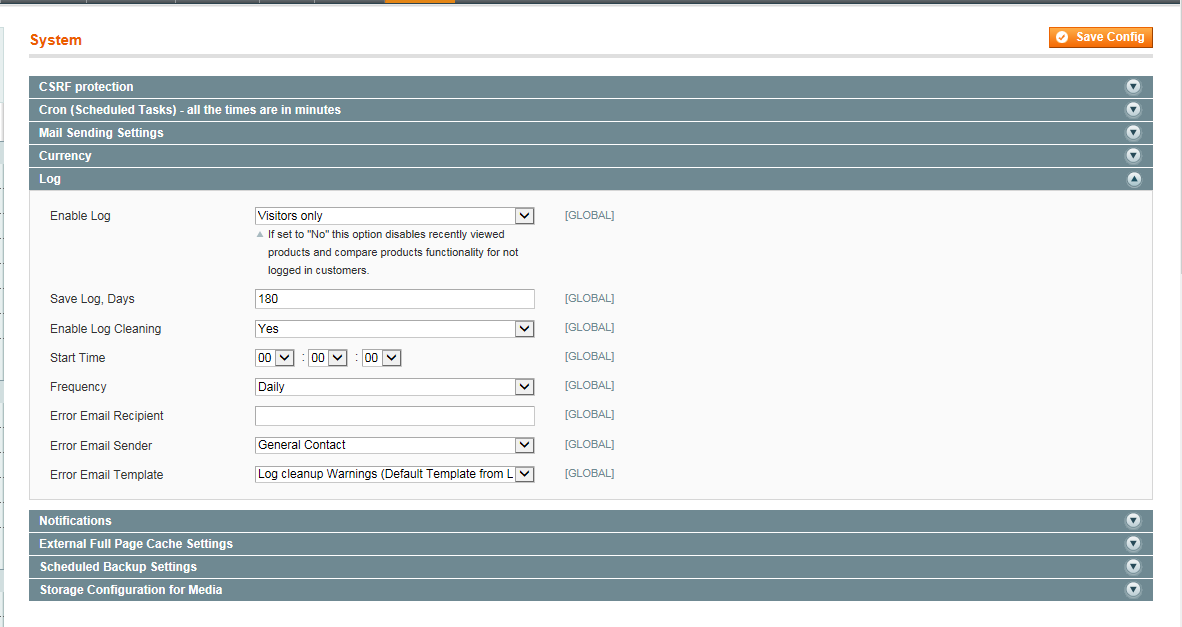Magento System Log Cleaning